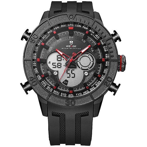 Relógio Masculino Weide AnaDigi WH-6308 - Preto e Vermelho