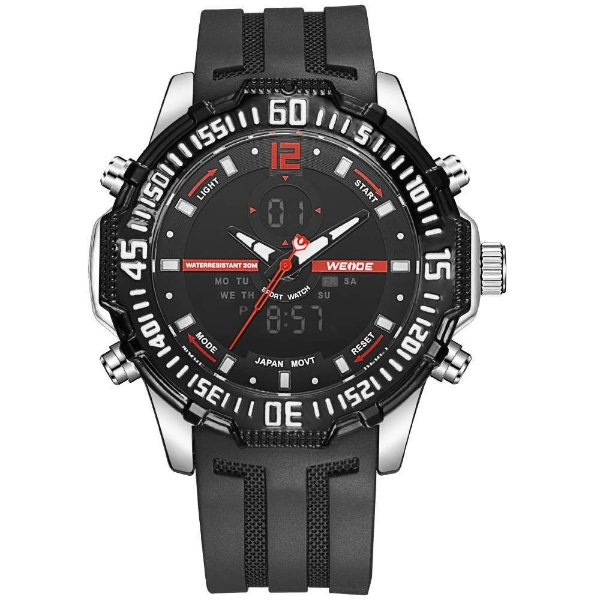 Relógio Masculino Weide AnaDigi WH-6105 - Preto e Vermelho