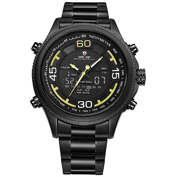 Relógio Masculino Weide AnaDigi WH-6306 - Preto e Amarelo