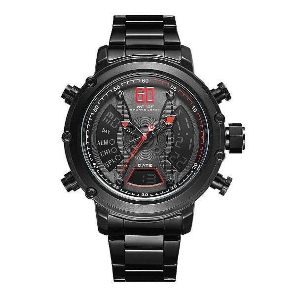 Relógio Masculino Weide AnaDigi WH-6905 - Preto e Vermelho