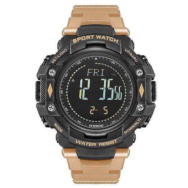Relógio Pedômetro Masculino Weide Digital WA-9J001 - Preto e Bege
