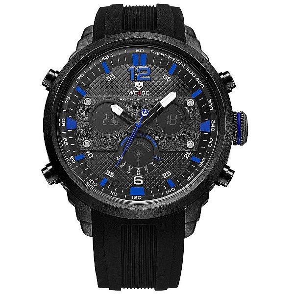 Relógio Masculino Weide AnaDigi wh6303 - Preto e Azul
