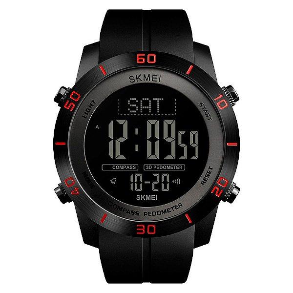 Relógio Pedômetro Bússola Masculino Skmei Digital 1354 - Preto e Vermelho