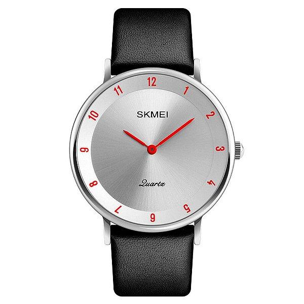 Relógio Unissex Skmei Analógico 1263 - Prata e Vermelho