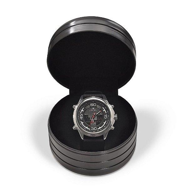 Relógio Masculino Weide AnaDigi 6306 - Preto e Prata