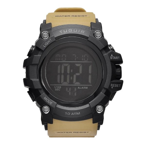 Relógio Masculino Tuguir 10ATM Digital TG109 - Preto e Marrom