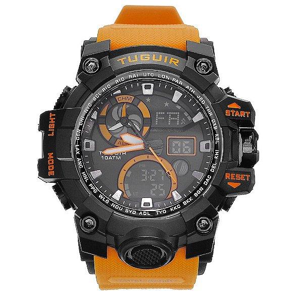 Relógio Masculino Tuguir 10ATM AnaDigi TG108 - Preto e Laranja