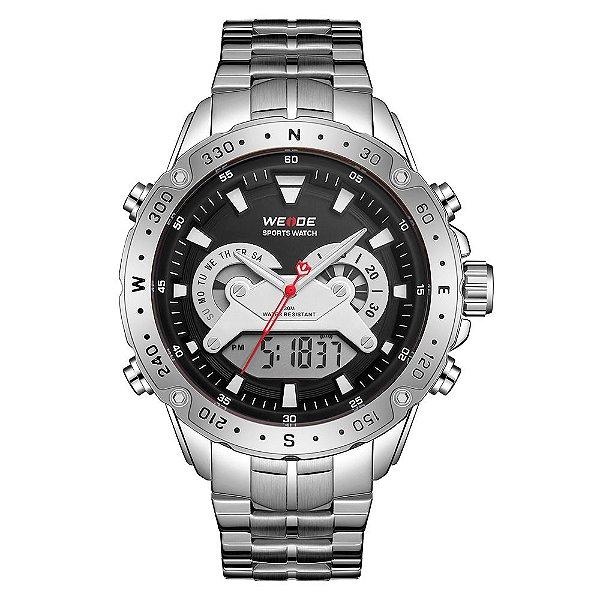 Relógio Masculino Weide AnaDigi WH8501 - Prata e Preto