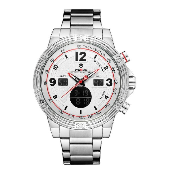 Relógio Masculino Weide AnaDigi WH6908 - Prata e Branco