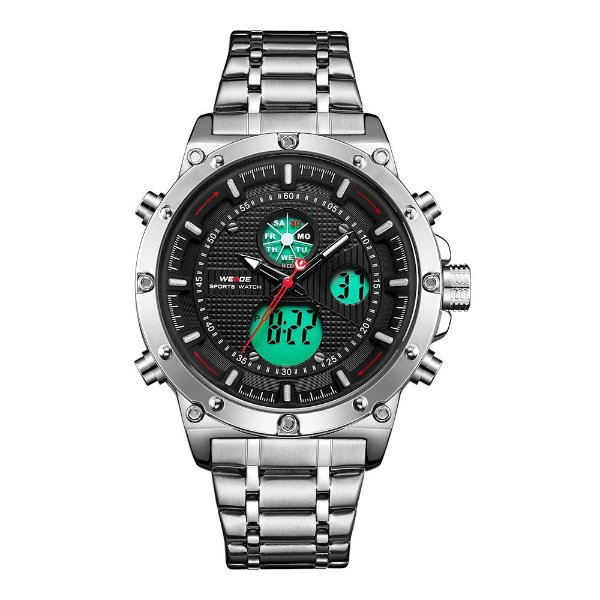 Relógio Masculino Weide AnaDigi WH6906 - Prata e Preto