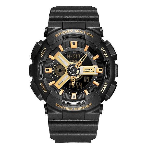 Relógio Masculino Weide AnaDigi WA3J8004 - Preto e Dourado
