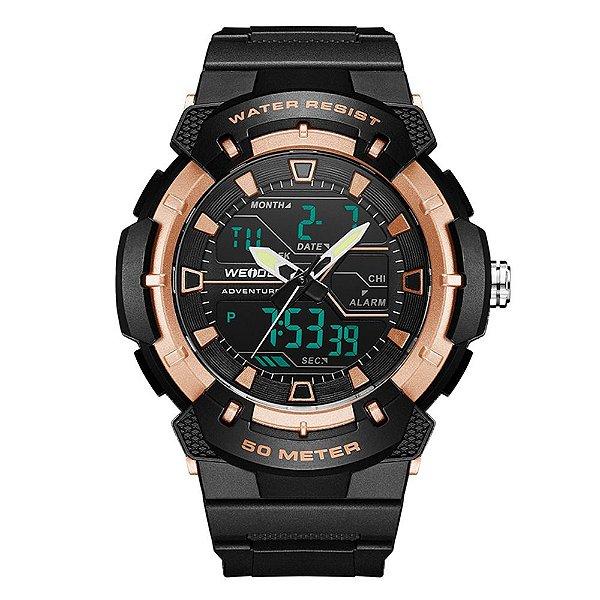 Relógio Masculino Weide AnaDigi WA3J8008 - Preto e Rosé