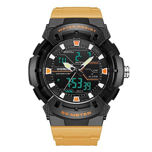 Relógio Masculino Weide AnaDigi WA3J8008 - Preto e Bege