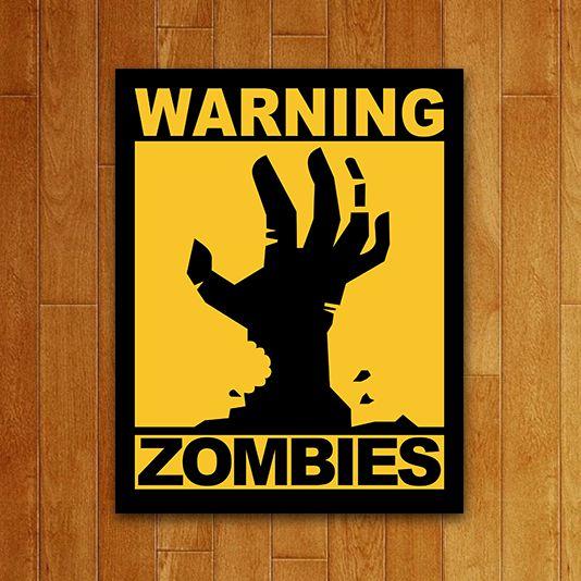 Placa Decorativa: Warning Zombies