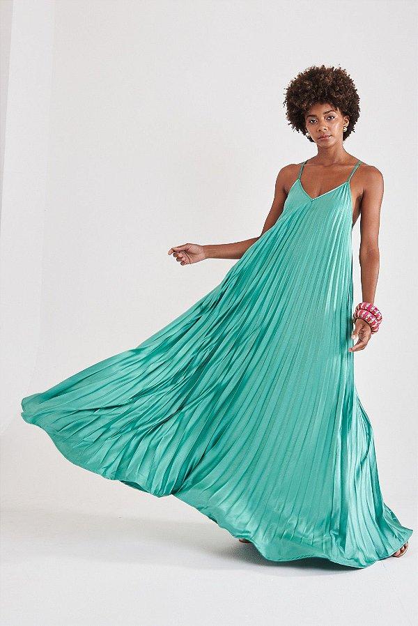 Vestido Plissado Verde Lucila