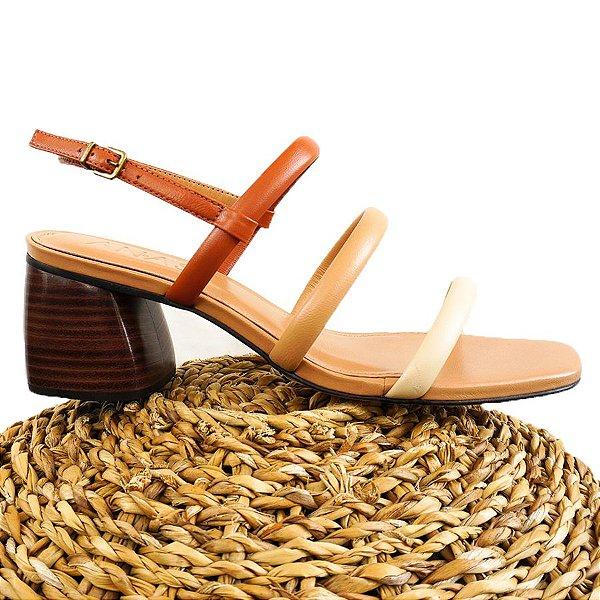 Sandália Três Tiras Tricolor