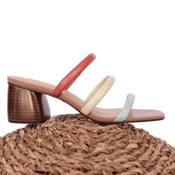 Sandália Três Tiras Tricolor (Mule)
