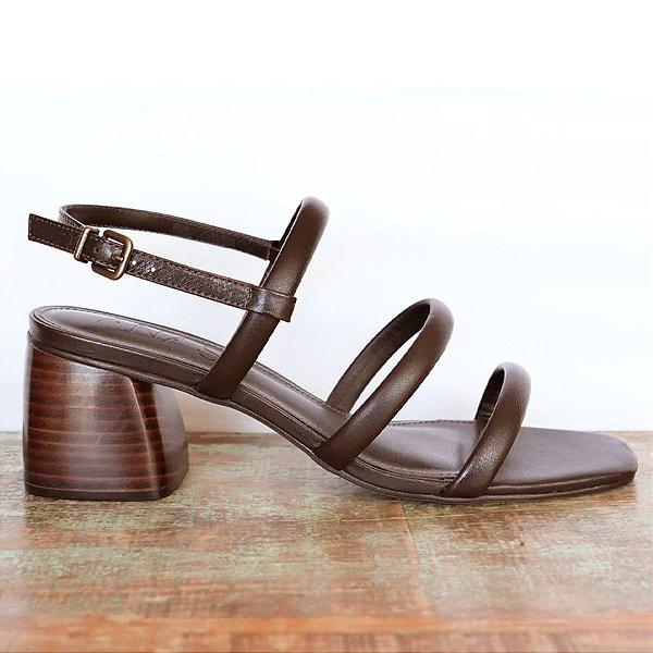 Sandália Três Tiras Chocolate