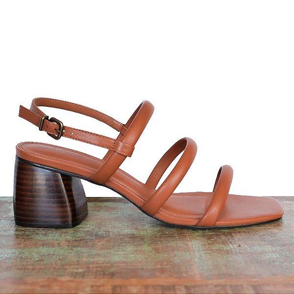 Sandália Três Tiras Canela