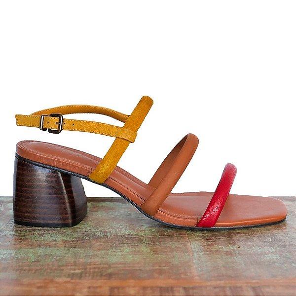 Sandália Três Tiras Colorida