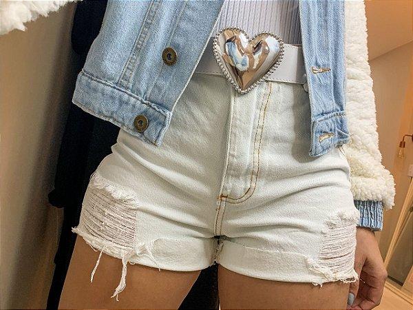 Short Jeans Off Cinto Coração
