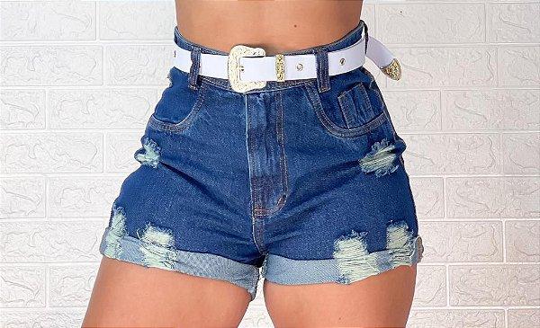 Short Jeans Cinto Branco