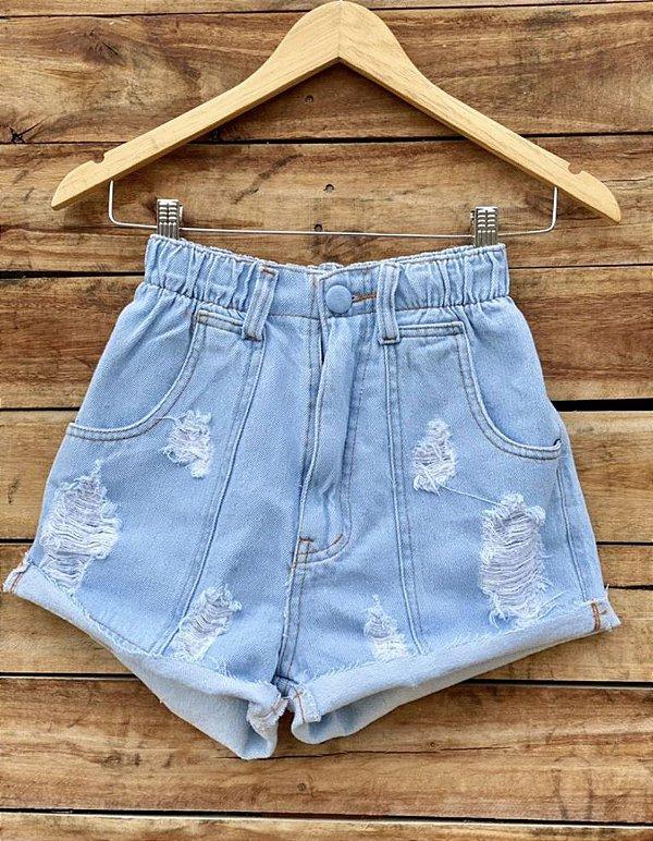Short Jeans Elastico Claro