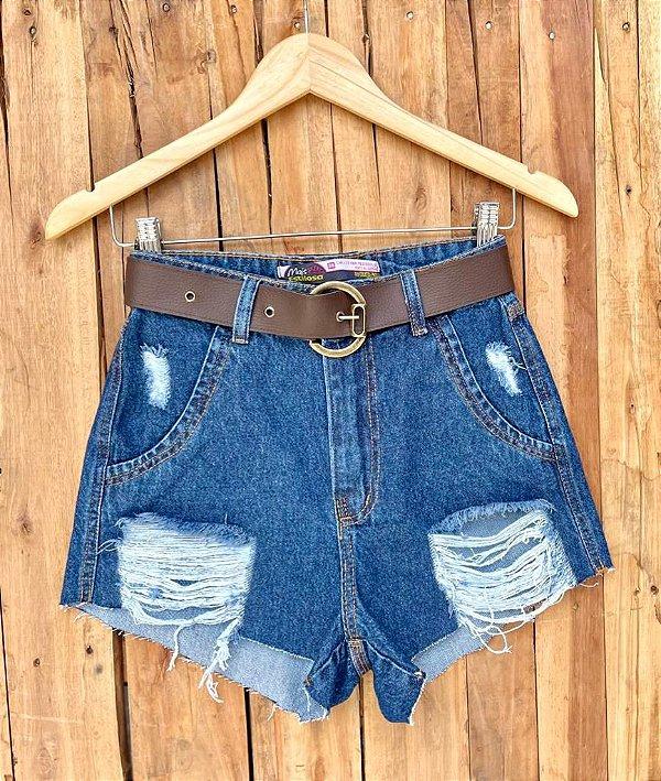 Short Jeans Cinto Marrom