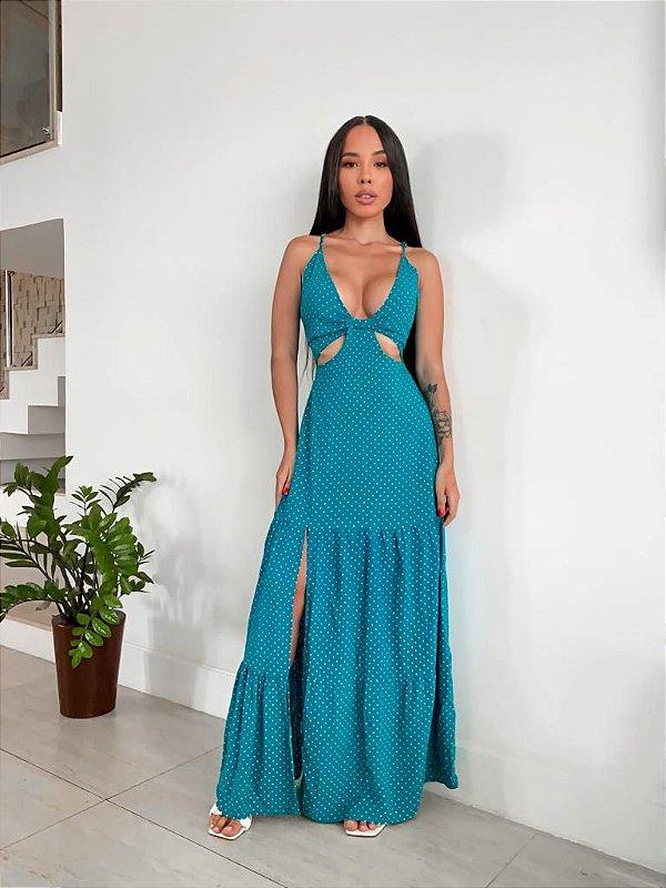 Vestido Recorte Poá Cores