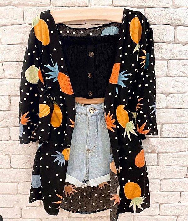 Kimono Preto Abacaxi