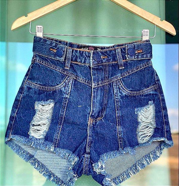 Short Jeans Escuro Botao Forrado