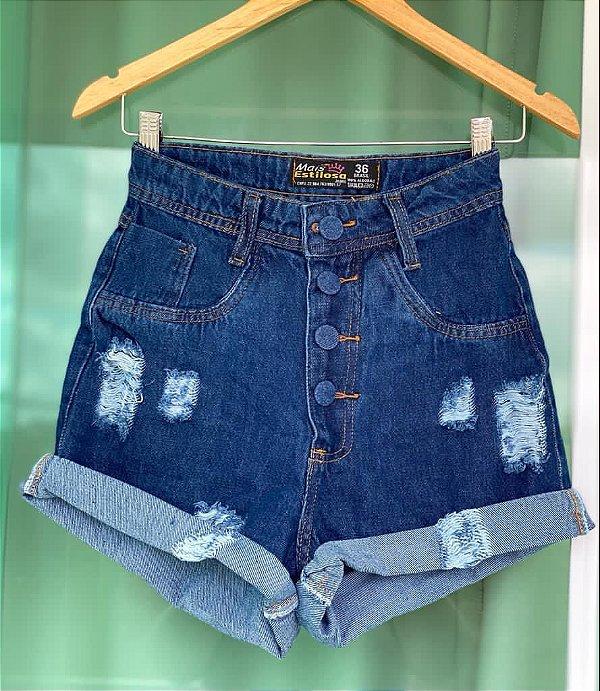 Short Jeans Botoes Barra