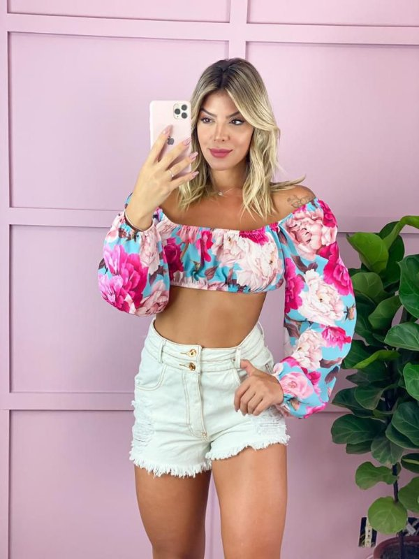 Cropped Floral Crepe