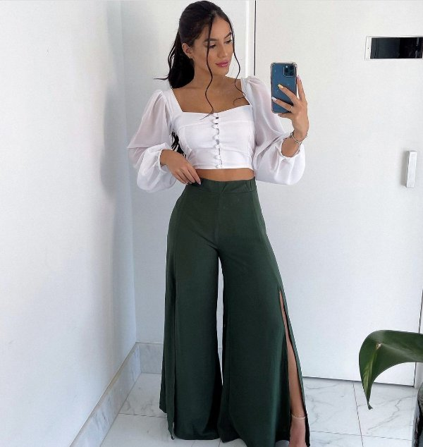 Calça Pantalona Fenda Verde