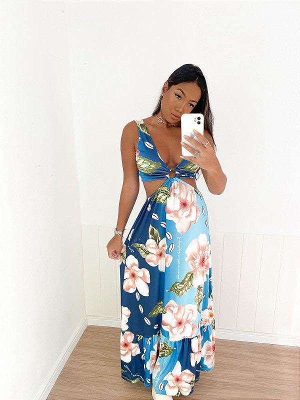 Vestido Longo Floral Azul