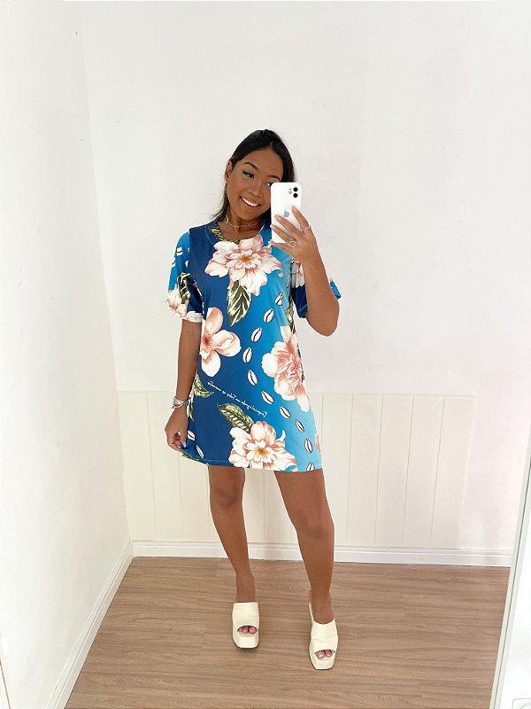 Vestido Curto Floral Azul