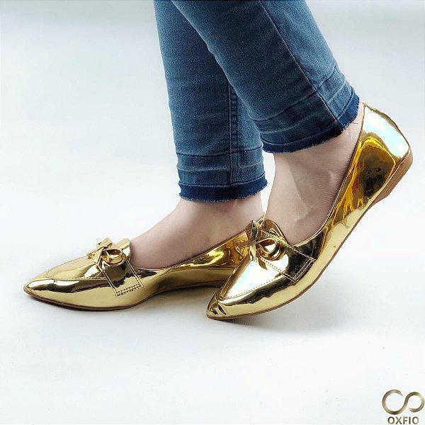 Sapatilha Espelhada Dourada