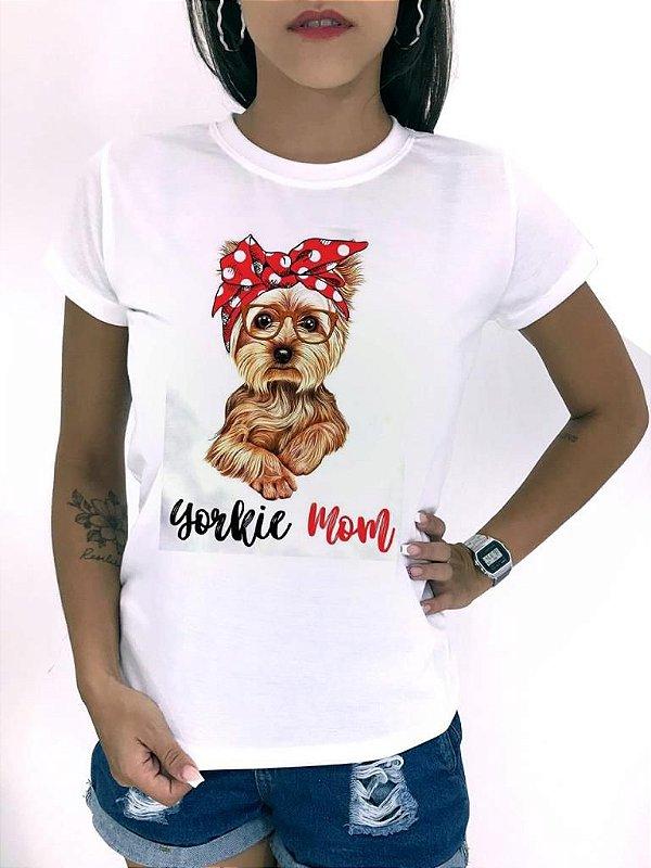 T-SHIRTS FEMININA POLIÉSTER YORKIE MOM
