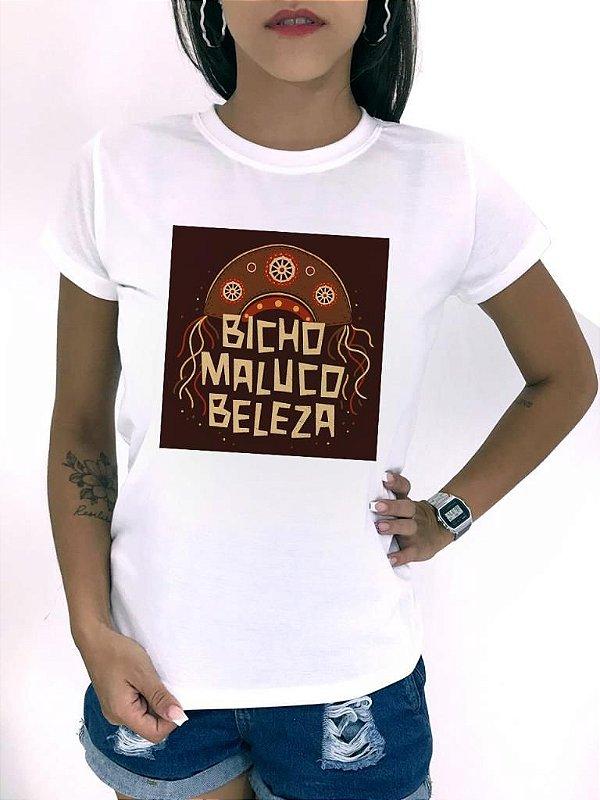 T-SHIRTS FEMININA POLIÉSTER BICHO MALUCO BELEZA