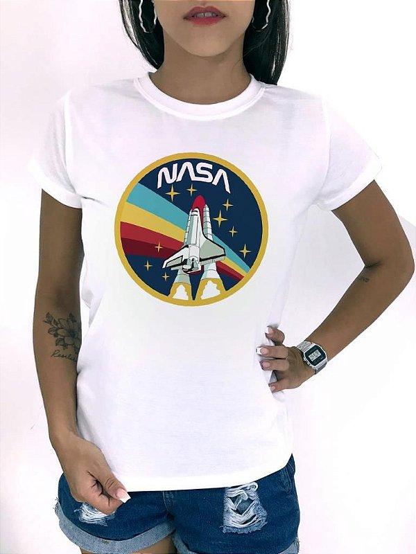 T-SHIRTS FEMININA POLIÉSTER NAVE NASA