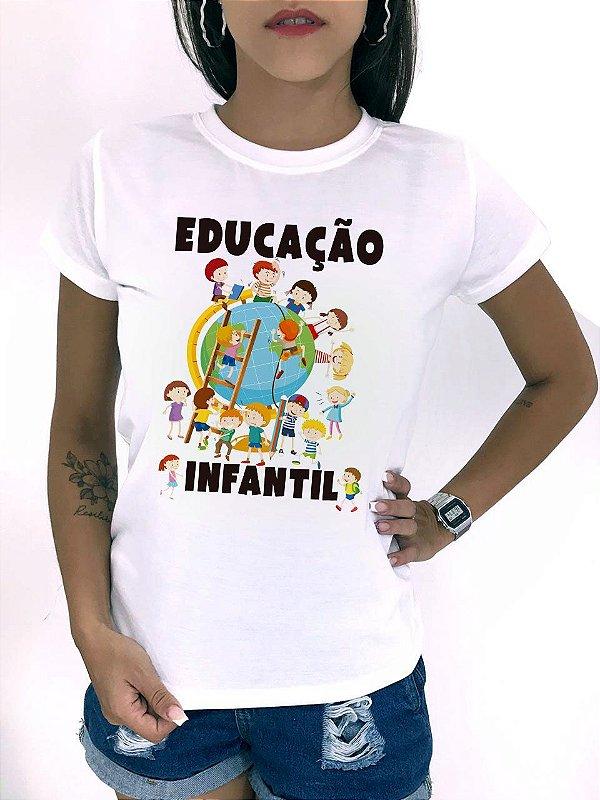 T-SHIRTS FEMININA POLIÉSTER OFF EDUCAÇÃO INFANTIL PLANETA