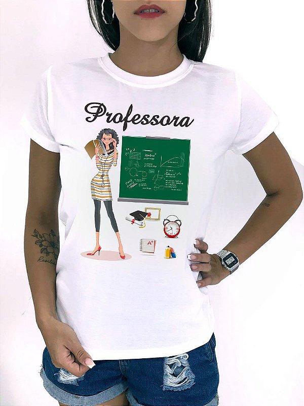 T-SHIRTS FEMININA POLIÉSTER OFF PROFESSORA PNG