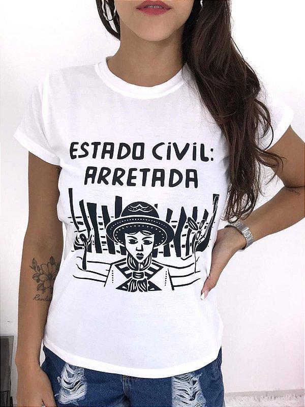 T-SHIRTS FEMININA POLIÉSTER OFF ESTADO CIVIL: ARRETADA