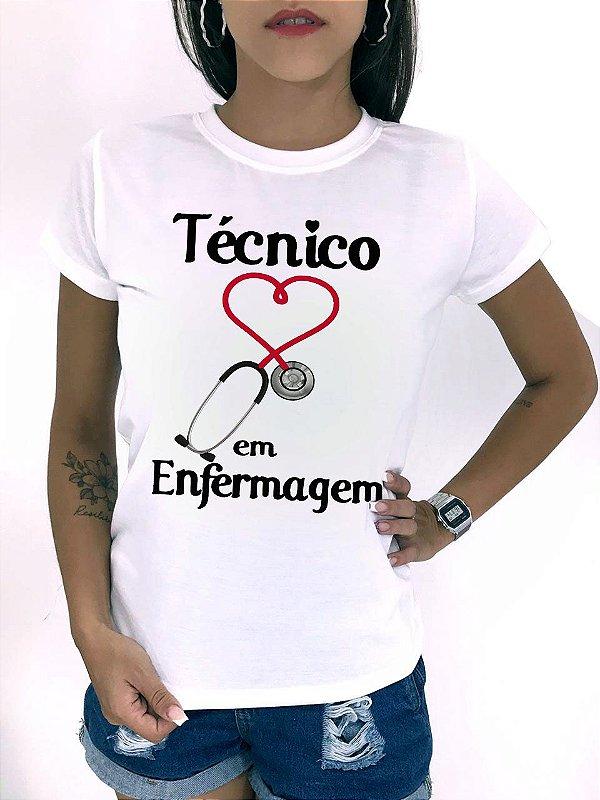 T-SHIRTS FEMININA POLIÉSTER OFF TÉCNICO DE ENFERMAGEM