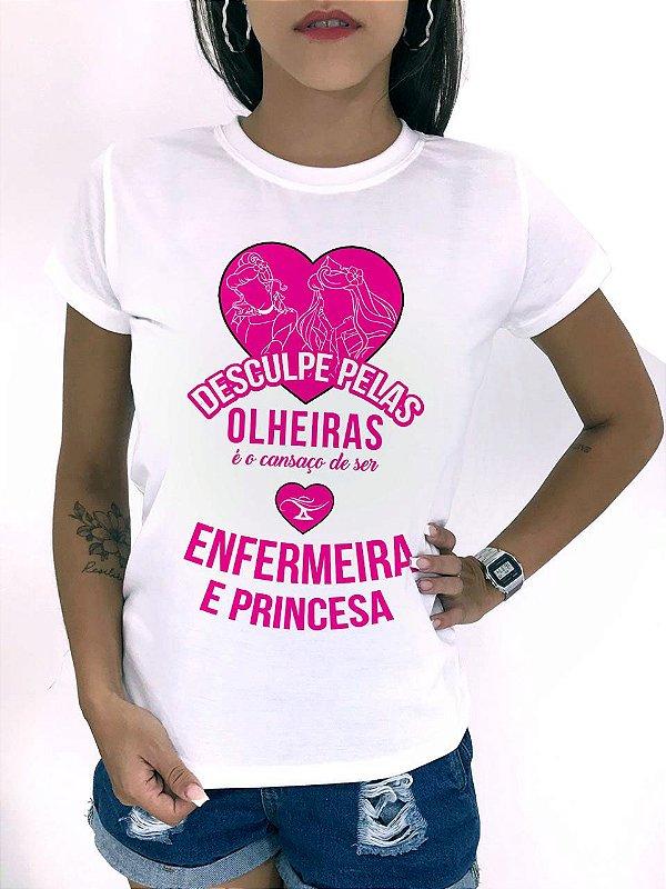 T-SHIRTS FEMININA POLIÉSTER OFF ENFERMEIRA E PRINCESA