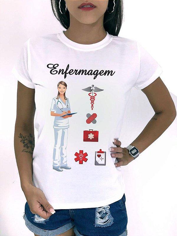 T-SHIRTS FEMININA POLIÉSTER OFF ENFERMAGEM PNG
