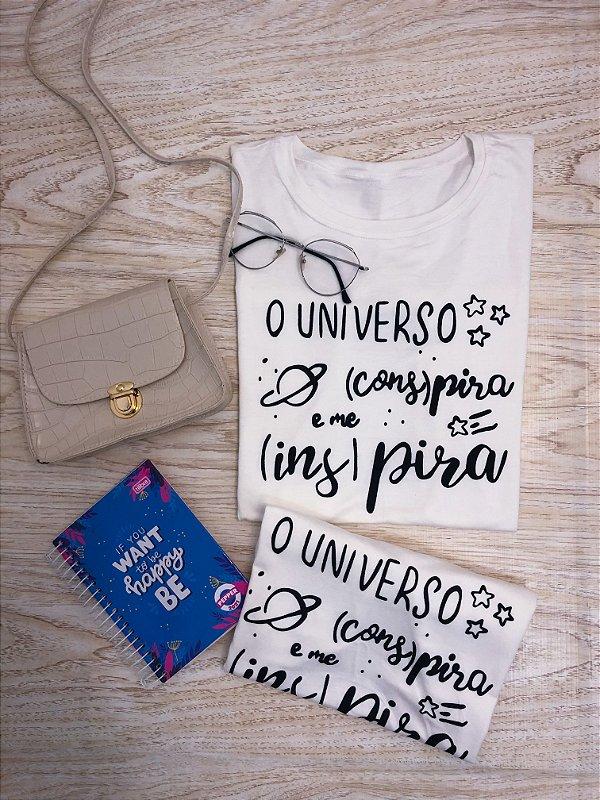 T-SHIRTS FEMININA VISCOLYCRA OFF UNIVERSO CONSPIRA