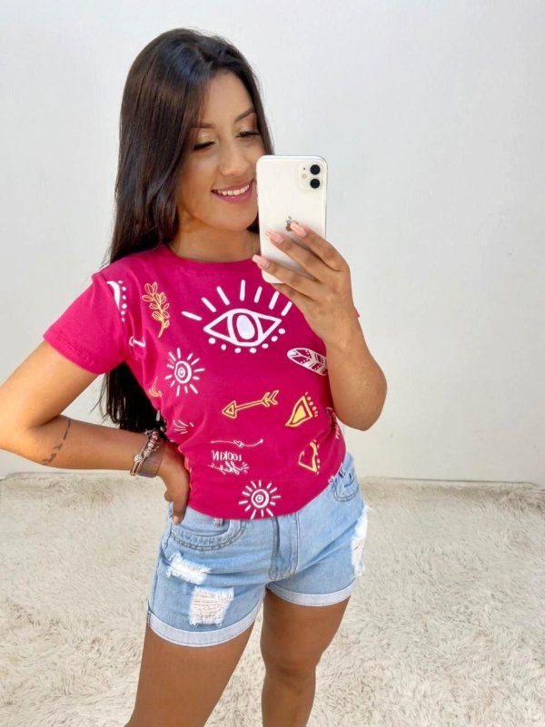 T-SHIRTS FEMININA ALGODÃO ROSA OLHO GREGO TOTAL