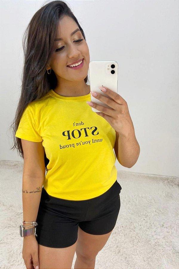 T-SHIRTS FEMININA ALGODÃO AMARELO STOP