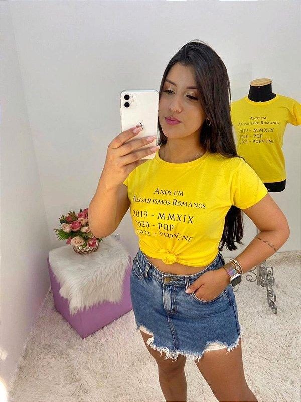 T-SHIRTS FEMININA ALGODÃO AMARELO ANOS EM ROMANOS